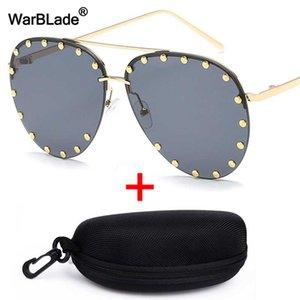 WarBLade Luxury Oversized Sunglasses Women UV400 Retro Brand Designer Big Frame Sun Glasses For Female Rivet Pilot Eyewear