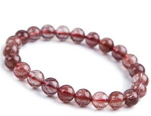 Braccialetto naturale della perla rutilato cristallo rosso brasiliano dei capelli rossi di trasporto 7mm
