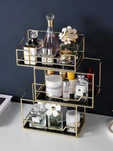 Nordic Turning Desktop Storage Box Transparent Makeup Organizer 2 Tiers Glass Traying Table Finishing Rack T200320