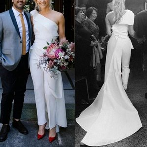 A Line One Shoulder Wedding Dresses Jumpsuit Soft Satin Pleated Bridal Gowns Wedding Reception Vestidos De Novia Robes De Mariée