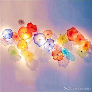Suposición libre del envío de la venta caliente soplado hecho a mano placas de vidrio de flores Art Hotel Galería de placas Decoración Chihuly de cristal de Murano de pared