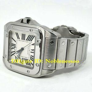 3 개 스타일로 박스 최고 품질 남성 자동 100 XL W200737G 스테인레스 스틸 화이트 2,656 38mm 시계 팔찌 남성 기계식 시계