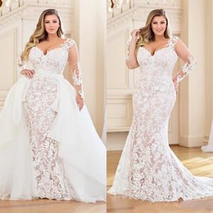 Modest Plus Size Mermaid Brautkleider mit abnehmbarem Zug Langarm volle Spitze Applizierte Brautkleid mit V-Ausschnitt Brautkleider
