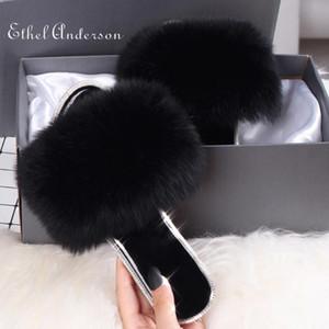 Ethel Anderson Gerçek Kürk Terlik Tamamen Güzel Daha İyi Kalite Slaytlar Kürk Flip Flop Casual Yaz Sandal Ayakkabı Yeni Sıcak Geldi