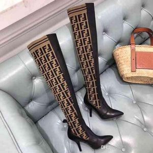 Новое прибытие 2020 роскошь Мода женщин высокий каблук Stretch-Knit носок сапоги над коленом сапоги дышащие эластичные женские зимние сапоги