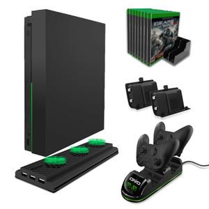 Doble controlador de base de carga para Xbox One / Xbox One S / Xbox One X cargador de batería de la estación de refrigeración Vertical Stand Juegos de almacenamiento