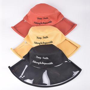 Mode Femme Seau transparent Chapeau solide Couleur chapeau de pêcheur extérieur Voyage plastique large Brim Sun Cap-TTA610LJ TTA