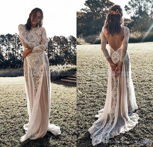 Vintage Lace Boho Vestidos do casamento de praia 2020 Long Sleeve Nude Forro País Bohemian Vestidos de casamento Hippie Gypsy Noiva Vestidos