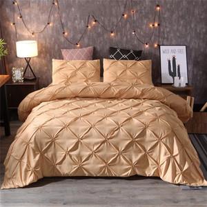 Luxo Preto edredon cobrir pitada plissado Breve cama Set Rainha King Size 3pcs A roupa de cama Set Consolador Cubra com fronha