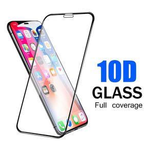 10D curvado templado pantalla de cristal protector de la cubierta completa de la para Iphone 12 11 Pro XR XS MAX X 8 7 6S más pegamento adhesivo HD película protectora