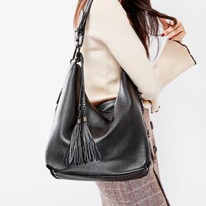 Zency Mode féminine Sac à bandoulière 100% cuir véritable Daily Casual commercial noir classique Vagabonds Sac fourre-tout Sacs à bandoulière