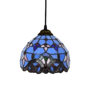 Pendant Light Blu barocco mediterranea creativa Tiffany Ciondolo luci in vetro colorato Balcone Corridoio smaltato Lampade a sospensione 20 cm 8 pollici