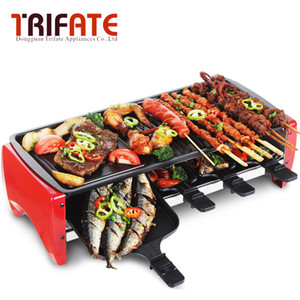 Large 1800W Double Layers Smokeless Electric Pan Grill BBQ Grill Raclette Electric Griddle