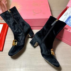 . 2020 Lüks tasarımcı bayan botları Süet ve Siyah Deri Altın Ton Donanım Süper Ağır Sole Kadınlar Boot ile deri deri ayak bileği çizme