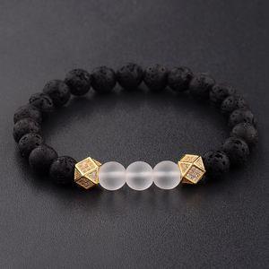 Classic Bracelet Men Micro Pave Cube CZ Copper Bracelets Black Lava Stone Beaded Bracelet Women Party Wedding Jewelry Gift