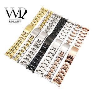 Rolamy 13 17 19 20 mm venda de reloj del tono de la correa al por mayor del acero inoxidable 316L de oro rosa de plata pulsera Oyster Banda de reloj para Dayjust Y191030