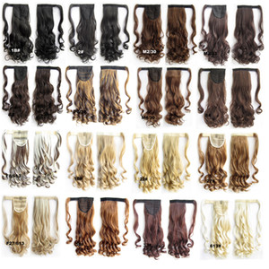 22'' 55cm Women Long Wavy Synthetic Wrap Around Hairpieces Fake Hair Ponytail Extensions High Temperature Fiber