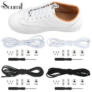 Soumit 1 زوج مرونة عالية لا تعادل نظام الكحول كسلان الحذاء قفل جولة سريعة الحذاء الرباط الإبزيم Shoestrings