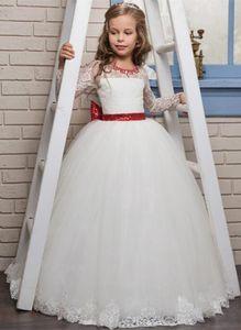 Dentelle fille fleur robes longues Illusion manches Jewel cou robe de bal main Papillons fille Pageant Robes