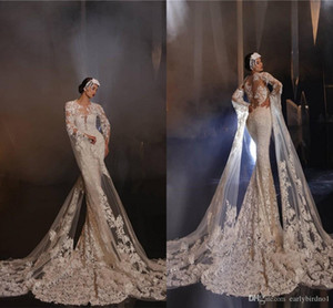 Vintage Lace Appliqued Mermaid Wedding Dress With Poet Long Sleeves Luxury Sheath Sexy Sweep Train Plus Size Bridal Gown