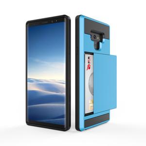 الهجين Slide Card Slot Case لسامسونج غالاكسي ملاحظة 9 S9 S9 + Note8 S8 S8 + S7 Edge S6 Edge S5 S4 Note5 Note4