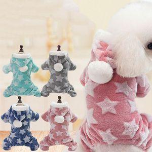 1PC Vierbeinige WeisehaustierHoodie Cat Dogs Pyjamas Overall Herbst Hundewinterkleidung Fleece Sterne Muster Warm Welpen Kostüm