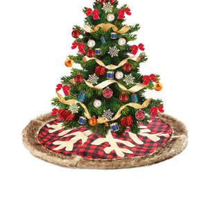 Christmas Tree Skirt 90cm Large Plaid Snowflake with Thick Plush Edge Xmas Home Decor plaid tree skirt HTQ99
