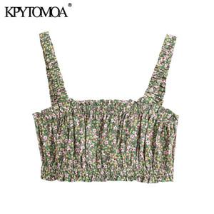 KPYTOMOA donne 2020 Sweet Fashion stampa floreale Camicie ritagliata camicette Vintage elastico pieghettato assetta cinghietti femminili Chic Top