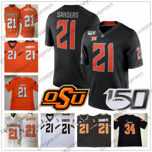 Oklahoma State Cowboys # 1 Dez Bryant 2 Mason Rudolph 21 Barry Sanders 24 Tyreek Hill 34 Thurman Thomas Blanc Orange Black Vintage Jersey