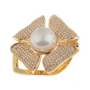 Elegante Blumen-Schal Clips Kupfer Schals Buckle Silk Ringe Halter Buckle