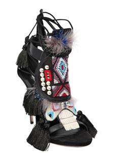 Romano mujeres gladiador gato a pie sandalias de moda de tacón alto espárragos damas Negro Marrón Flecos diseño sandalias de verano zapatos zapatos mujers