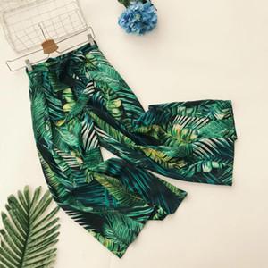 Queenus Summer Damen Hose mit weitem Bein und hoher Taille zum Schnüren Hose mit tropischem Blattdruck Grüner Bogen Palazzo Mit Tasche Freizeithose Y19070301