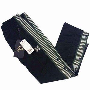 Haute qualité AWGE papillon brodé pantalon rue Hommes Femmes AWGE x Aiguille pantalon bouton Bande Jogging