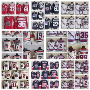 New York Rangers Jersey Brian Leetch Adam Graves Marc Staal Brad Richards Wayne Gretzky White Red Vintage CCM Männer genäht Hockey-Trikots