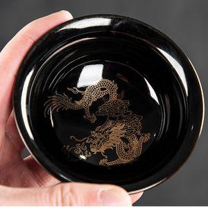 Hecho a mano horno Dragón y Phoenix taza de té de la taza de té de Pu'er Kungfu Master Cup Accesorios Recipientes