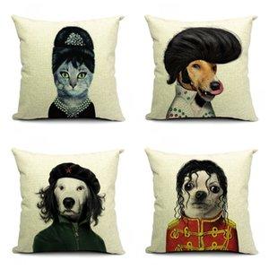 Kedi Köpek Desen Yastık Kılıfı 45X45 CM Karikatür Güzel Minder Kapak Pamuk Ve Keten Pillowslip Ev Yatak Odası Konfor 14sl C1