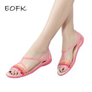 EOFK 2019 Sandali Donna Estate New EVA Casual Colori misti caramelle Morbida Slip On Beach Jelly Shoes Donna Sandali piatti