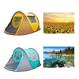Tendas ao ar livre totalmente automática Abertura instantâneo portátil Tent Beach Beach Shelter Caminhadas Camping Família Tendas 2-4 Pessoa ZZA657