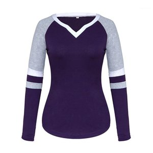Tops V Neck Striped Womens Tshirts Long Sleeve Patchwork Color Ladies Tees Casual Solid Color Female