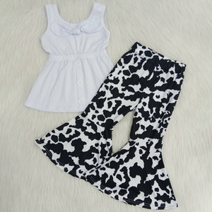 Bambini Boutique Abbigliamento Girls Set Summer Bell Bottom Outfits Baby Girl Designer Vestiti Sunflower Leopard Stampa Bambini Boutique Outfits RTS
