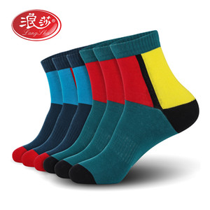 Uomini calzini di cotone uomo calze sportive colorato uomini (6pairs / lotto) più il formato (UE 39-46) (US 7,0-12,0) 6pais / lot Langsha