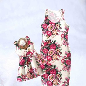 2019 Family Women's Tops & Tees Women's Clothing Matching dress Mother Daughter Floral Dresses Bohemian Style Family Matching Clothes Mom