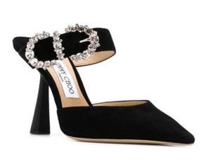 Festa à noite moda sapatos para as mulheres das senhoras Sandálias Salto Alto veludo sapatos de casamento Três Cores sapatos de casamento JC (com caixa)