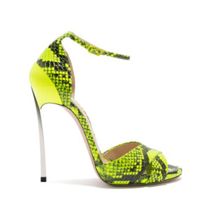 free shipping 2019 New design fashion lady's sandals factory super quality stiletto heels sexy snake leather fashion women sandal shoes