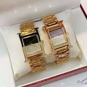 Высокое качество новой моды Luxury Lady Watch Top Известные платье женщины кварцевые наручные часы квадратный циферблат Часы из нержавеющей стали полные алмазов часы