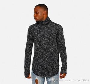 Марка конструктора Mens пассивом Основные Tshirts Водолазка Зима Осень Черный Hiphop Топы с длинными рукавами Дизайнер одежды