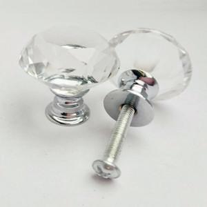 30mm Diamant-Kristallglas-Türknauf Schrank Schubladenschrank Möbel Pull Türgriff Knöpfe Mit Schraube Möbelzubehör DBC VT1216
