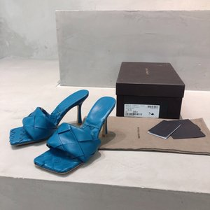 2020 Designer womens slippers square mules shoes nappa lambskin women slippers LIDO sandals luxury lady Wedding high heels lady high heel