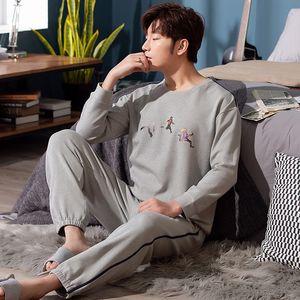 WAVMIT Pyjama hommes Automne Hiver manches longues 100% coton Taille plus 4XL 5XL Pyjamas pyjamas Père Pyjama Nihgtwear