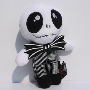 23cm Stand Sit Jack Skellington Plush Toy Nightmare Before Christmas Cute Skull Jake Stuffed Soft Plush Doll Children Great Gift